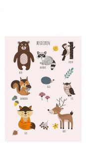 Little And Pure Poster Bosdieren Roze Voorkant