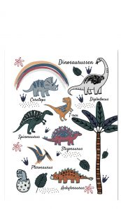 Little And Pure Poster Dinosaurussen Wit Voorkant
